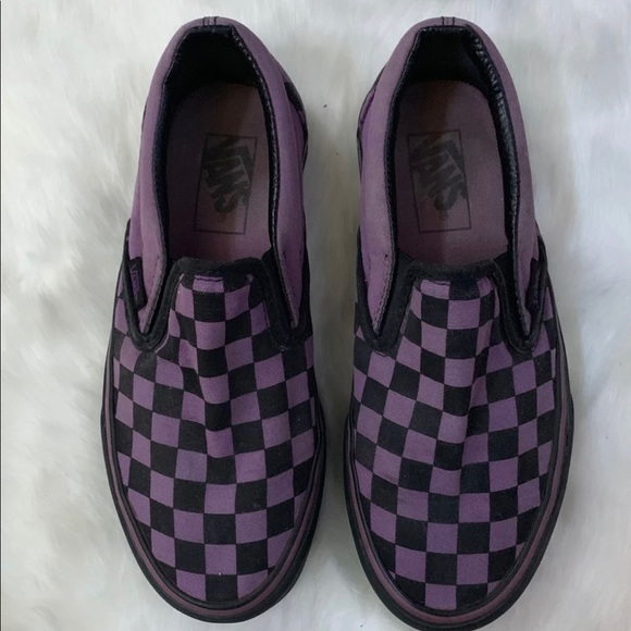 Black And Purple Checkered Vans Shoes